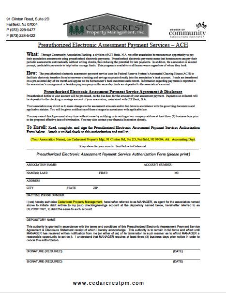 ACH Authorization Form